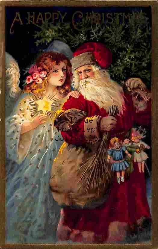 Father Christmas and Angel with Lighted Star